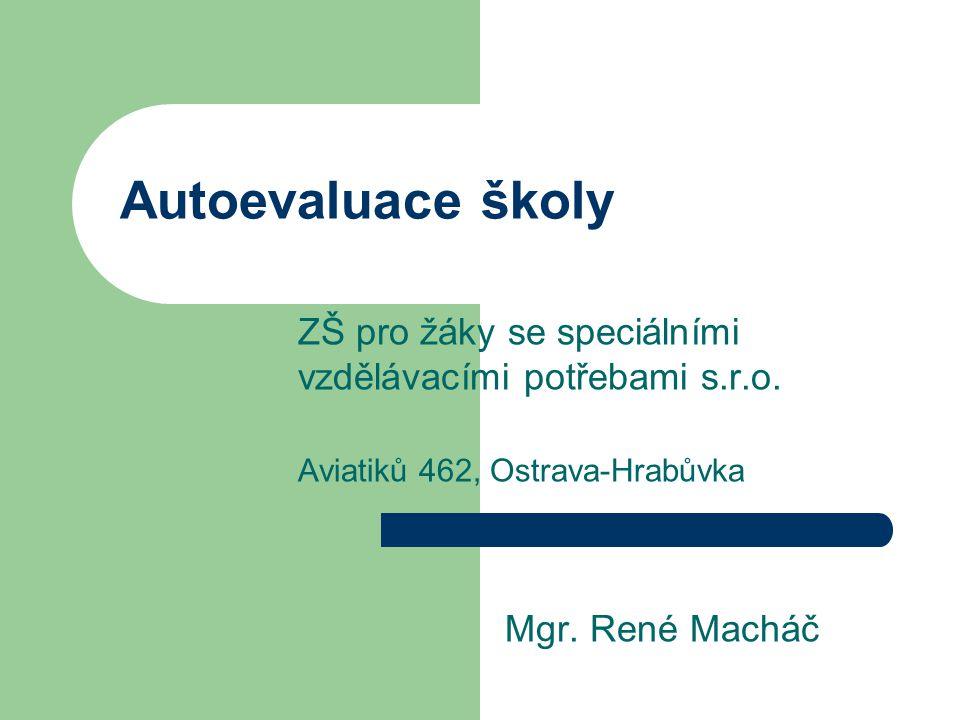 Autoevaluace školy ZŠ pro žáky se speciálními vzdělávacími potřebami s.r.o. Aviatiků 462, Ostrava-Hrabůvka Mgr. René Macháč