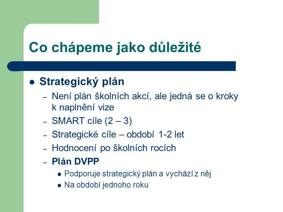 Co chápeme jako důležité Strategický plán – Není plán školních akcí, ale jedná se o kroky k naplnění vize – SMART cíle (2 – 3) – Strategické cíle – ob