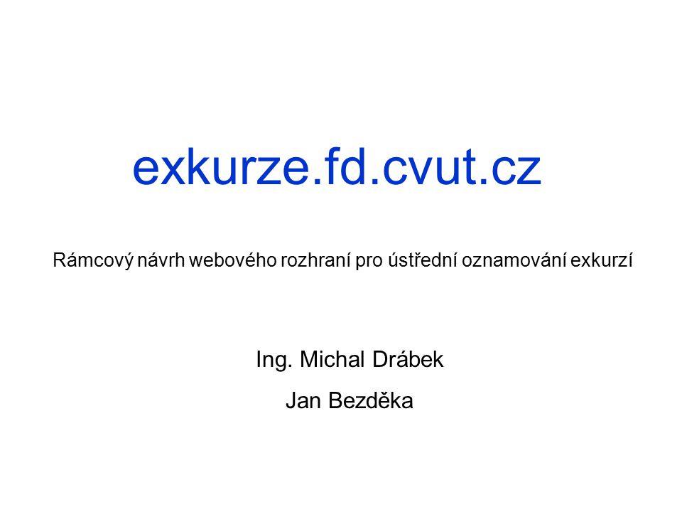 exkurze.fd.cvut.cz Rámcový návrh webového rozhraní pro ústřední oznamování exkurzí Ing.