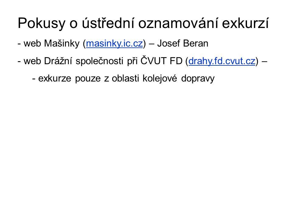 Pokusy o ústřední oznamování exkurzí - web Mašinky (masinky.ic.cz) – Josef Beran - web Drážní společnosti při ČVUT FD (drahy.fd.cvut.cz) – - exkurze pouze z oblasti kolejové dopravy