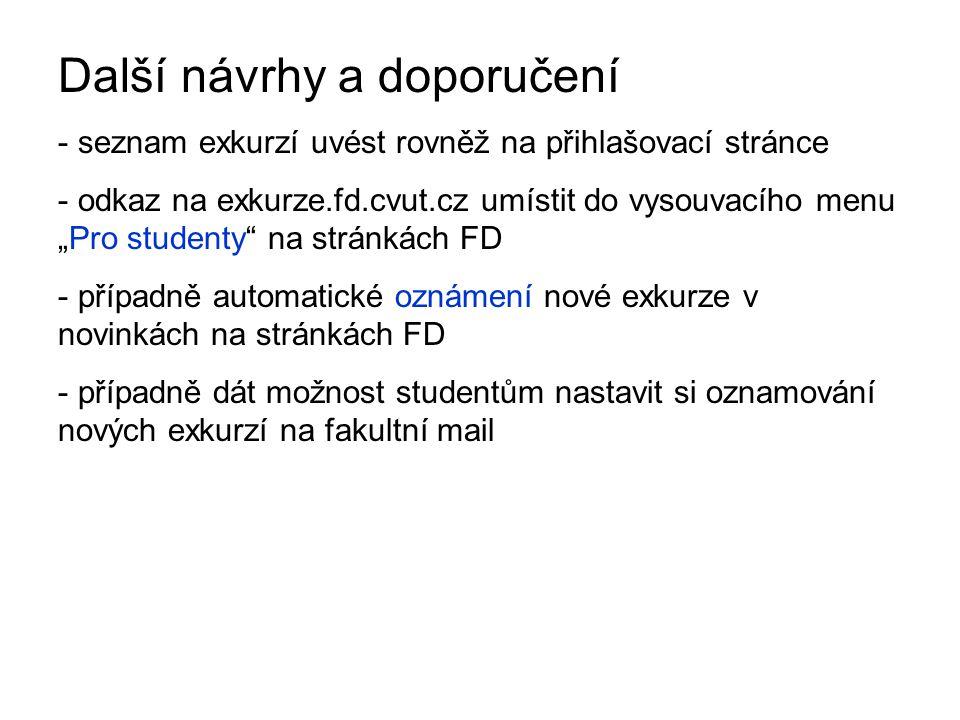 """Další návrhy a doporučení - seznam exkurzí uvést rovněž na přihlašovací stránce - odkaz na exkurze.fd.cvut.cz umístit do vysouvacího menu """"Pro student"""