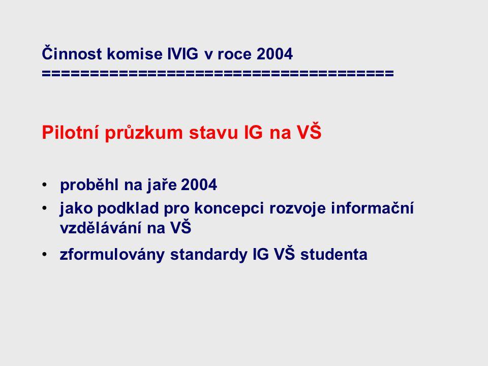 Činnost komise IVIG v roce 2004 ===================================== Pilotní průzkum stavu IG na VŠ proběhl na jaře 2004 jako podklad pro koncepci rozvoje informační vzdělávání na VŠ zformulovány standardy IG VŠ studenta