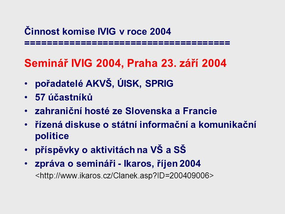 Činnost komise IVIG v roce 2004 ===================================== Seminář IVIG 2004, Praha 23.