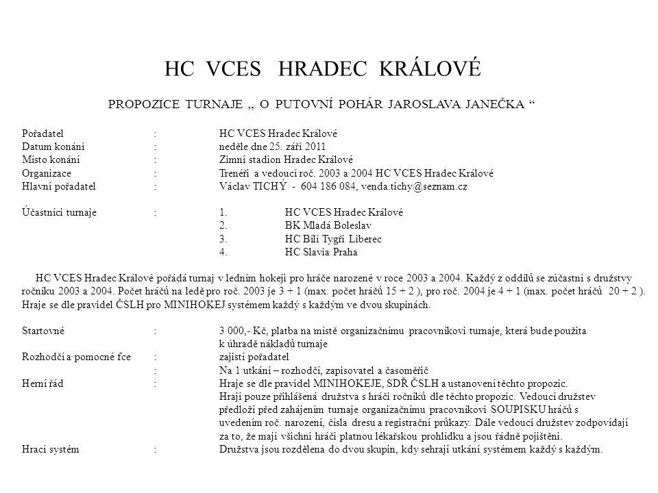 """HC VCES HRADEC KRÁLOVÉ PROPOZICE TURNAJE """" O PUTOVNÍ POHÁR JAROSLAVA JANEČKA Pořadatel:HC VCES Hradec Králové Datum konání:neděle dne 25."""
