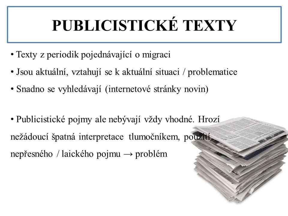 PUBLICISTICKÉ TEXTY Texty z periodik pojednávající o migraci Jsou aktuální, vztahují se k aktuální situaci / problematice Snadno se vyhledávají (inter