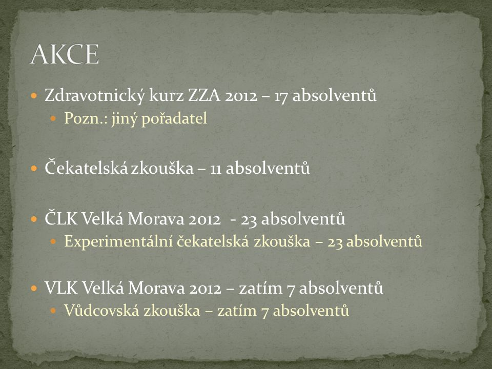 Zdravotnický kurz ZZA 2012 – 17 absolventů Pozn.: jiný pořadatel Čekatelská zkouška – 11 absolventů ČLK Velká Morava 2012 - 23 absolventů Experimentální čekatelská zkouška – 23 absolventů VLK Velká Morava 2012 – zatím 7 absolventů Vůdcovská zkouška – zatím 7 absolventů