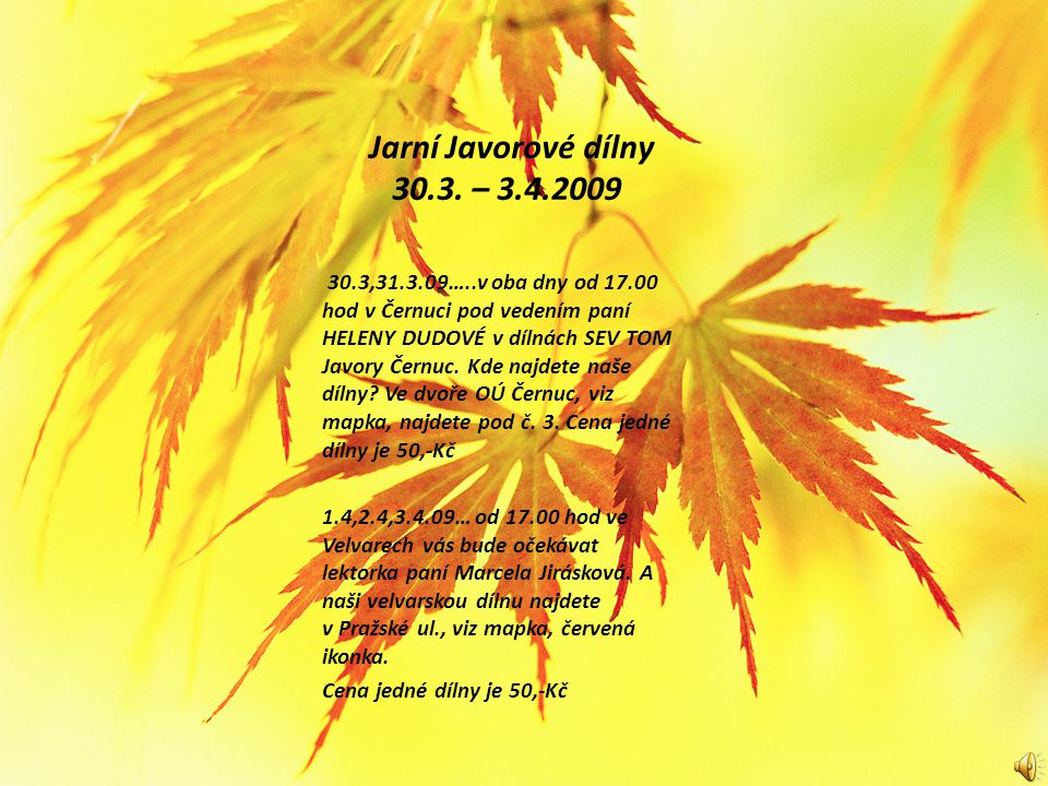 Podzimní javorové dílny 21.9.