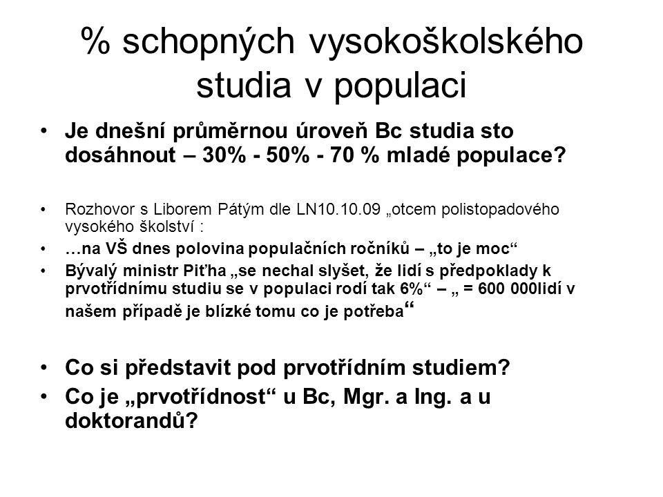 % schopných vysokoškolského studia v populaci Je dnešní průměrnou úroveň Bc studia sto dosáhnout – 30% - 50% - 70 % mladé populace.