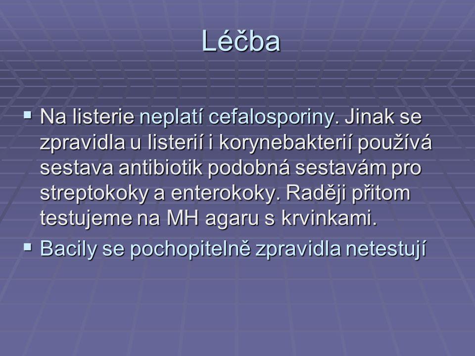 Léčba  Na listerie neplatí cefalosporiny.