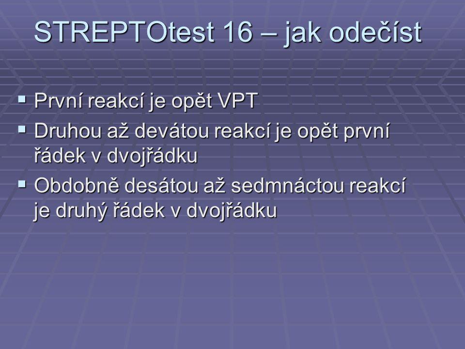 STREPTOtest 16 – jak odečíst  První reakcí je opět VPT  Druhou až devátou reakcí je opět první řádek v dvojřádku  Obdobně desátou až sedmnáctou reakcí je druhý řádek v dvojřádku