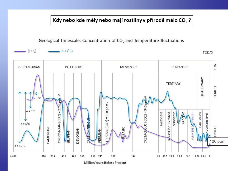 Kdy nebo kde měly nebo mají rostliny v přírodě málo CO 2 ? 400 ppm