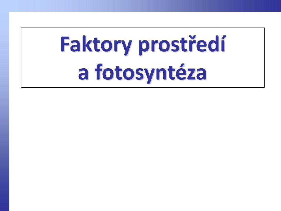 Faktory prostředí a fotosyntéza