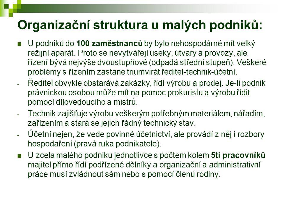 Organizační struktura u malých podniků: U podniků do 100 zaměstnanců by bylo nehospodárné mít velký režijní aparát. Proto se nevytvářejí úseky, útvary