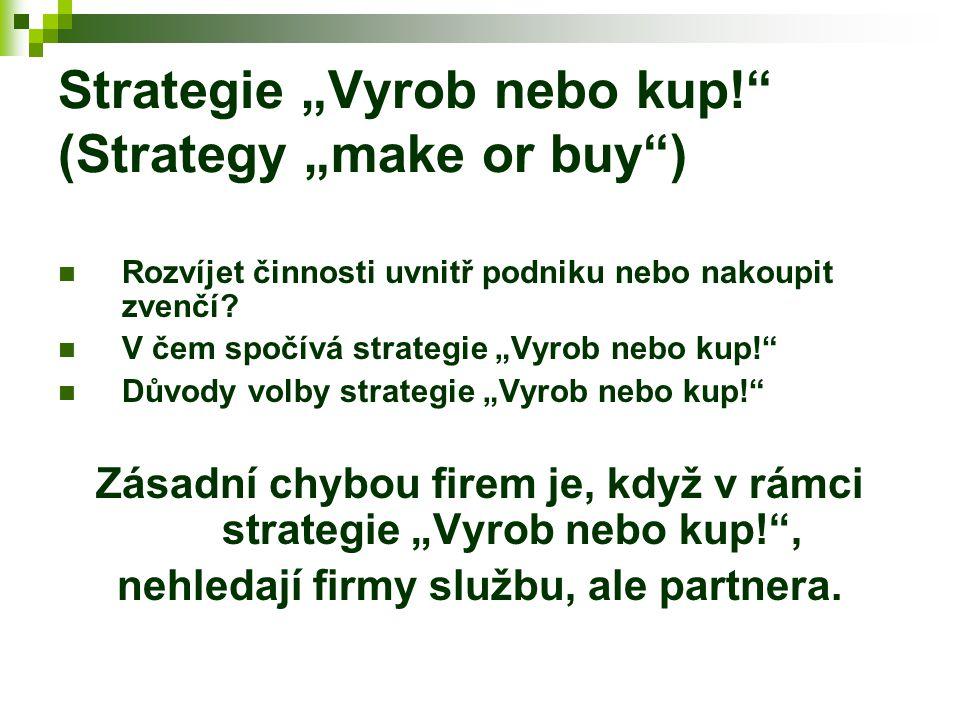 """Strategie """"Vyrob nebo kup!"""" (Strategy """"make or buy"""") Rozvíjet činnosti uvnitř podniku nebo nakoupit zvenčí? V čem spočívá strategie """"Vyrob nebo kup!"""""""