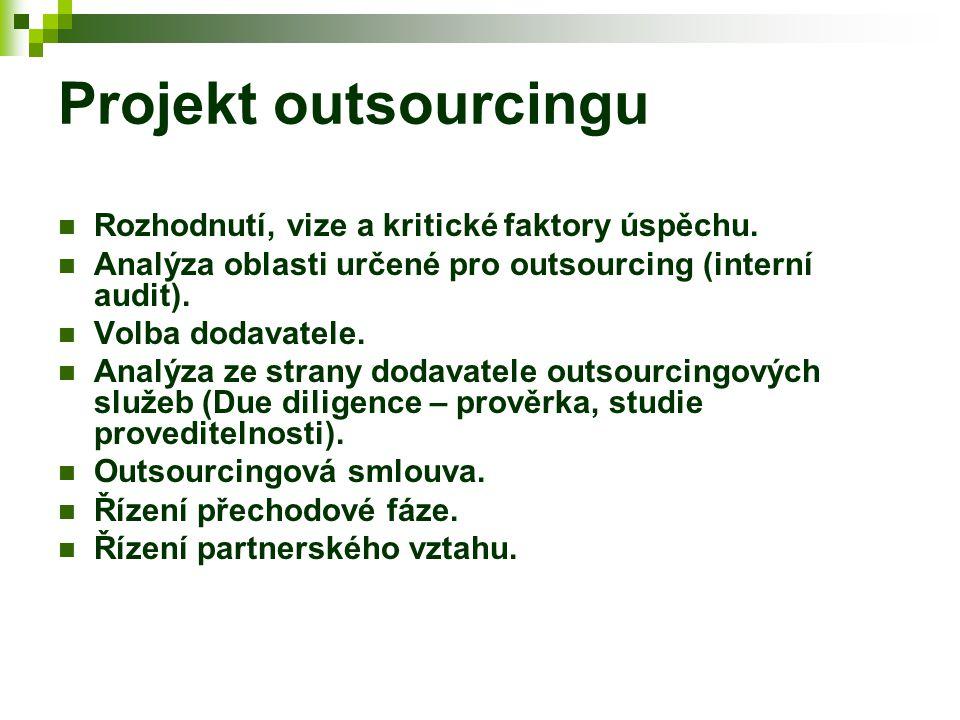 Projekt outsourcingu Rozhodnutí, vize a kritické faktory úspěchu. Analýza oblasti určené pro outsourcing (interní audit). Volba dodavatele. Analýza ze