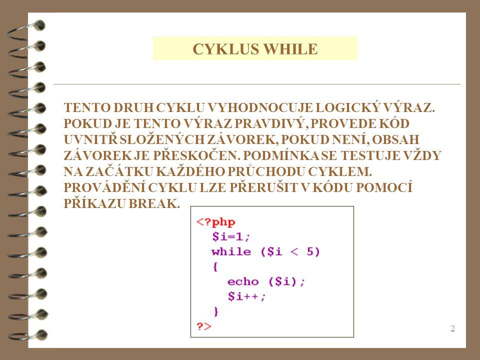 3 PRŮBĚH CYKLU WHILE