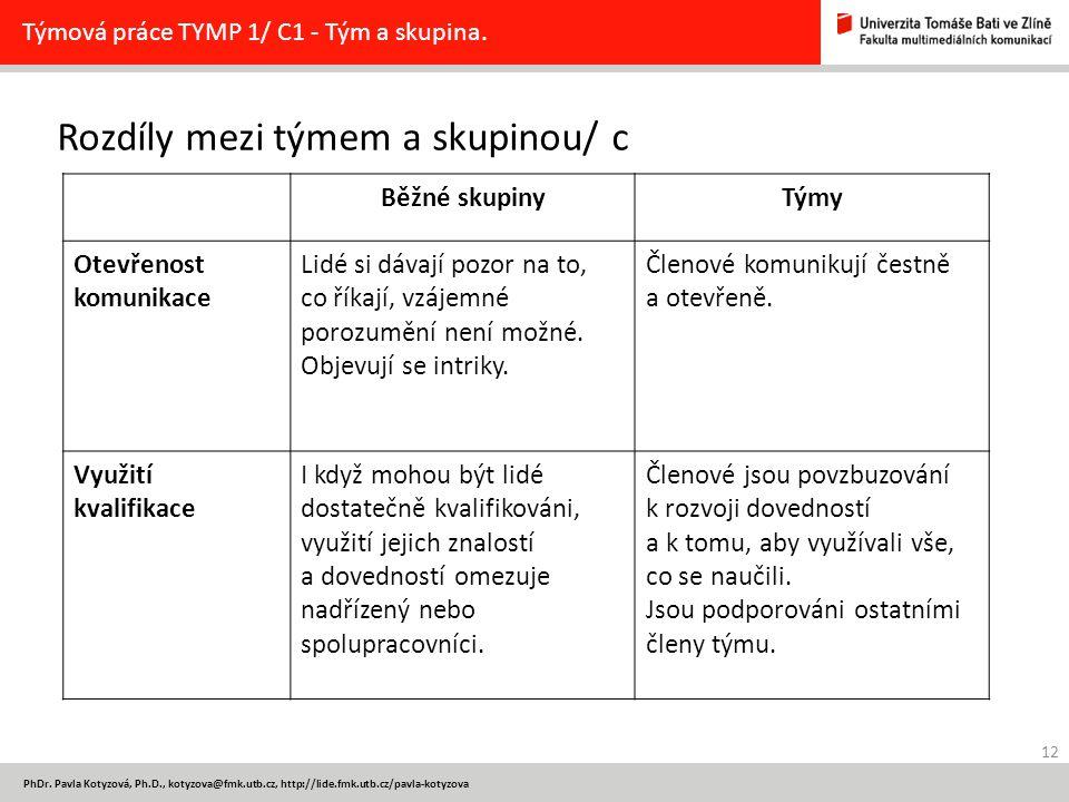 Rozdíly mezi týmem a skupinou/ c 12 PhDr. Pavla Kotyzová, Ph.D., kotyzova@fmk.utb.cz, http://lide.fmk.utb.cz/pavla-kotyzova Týmová práce TYMP 1/ C1 -