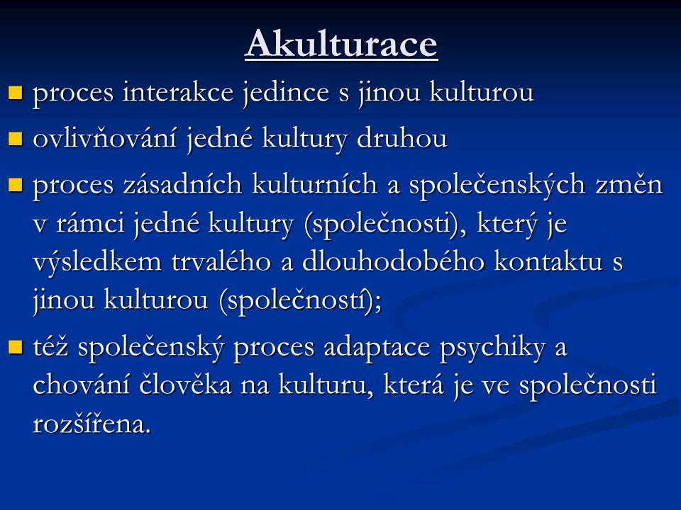 Akulturace proces interakce jedince s jinou kulturou proces interakce jedince s jinou kulturou ovlivňování jedné kultury druhou ovlivňování jedné kult