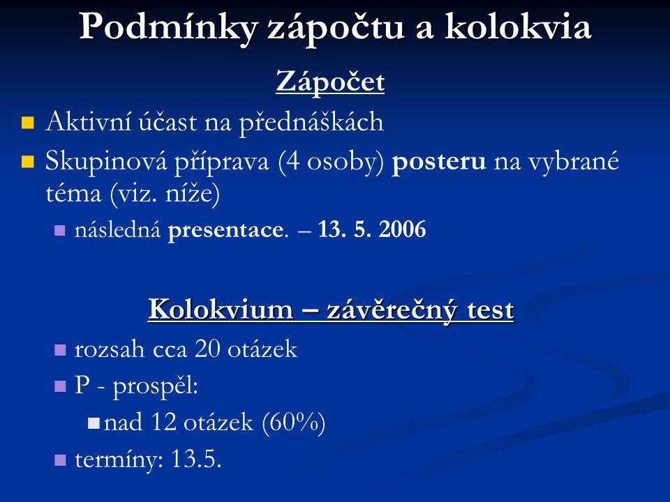 Podmínky zápočtu a kolokvia Zápočet Aktivní účast na přednáškách Skupinová příprava (4 osoby) posteru na vybrané téma (viz. níže) následná presentace.