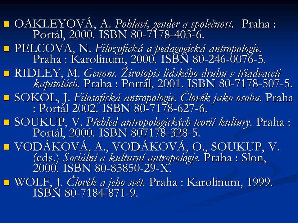 OAKLEYOVÁ, A. Pohlaví, gender a společnost. Praha : Portál, 2000. ISBN 80-7178-403-6. OAKLEYOVÁ, A. Pohlaví, gender a společnost. Praha : Portál, 2000