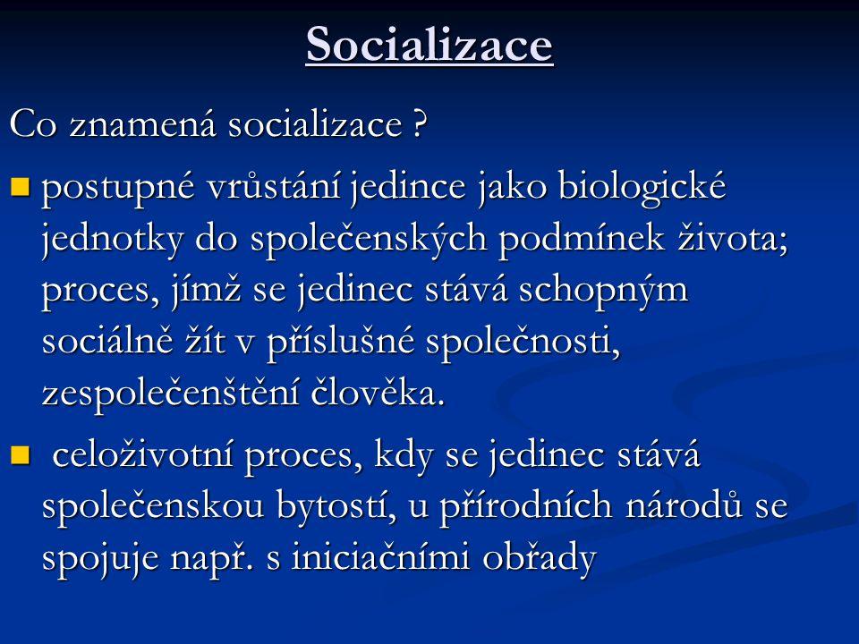 Socializace Co znamená socializace ? postupné vrůstání jedince jako biologické jednotky do společenských podmínek života; proces, jímž se jedinec stáv