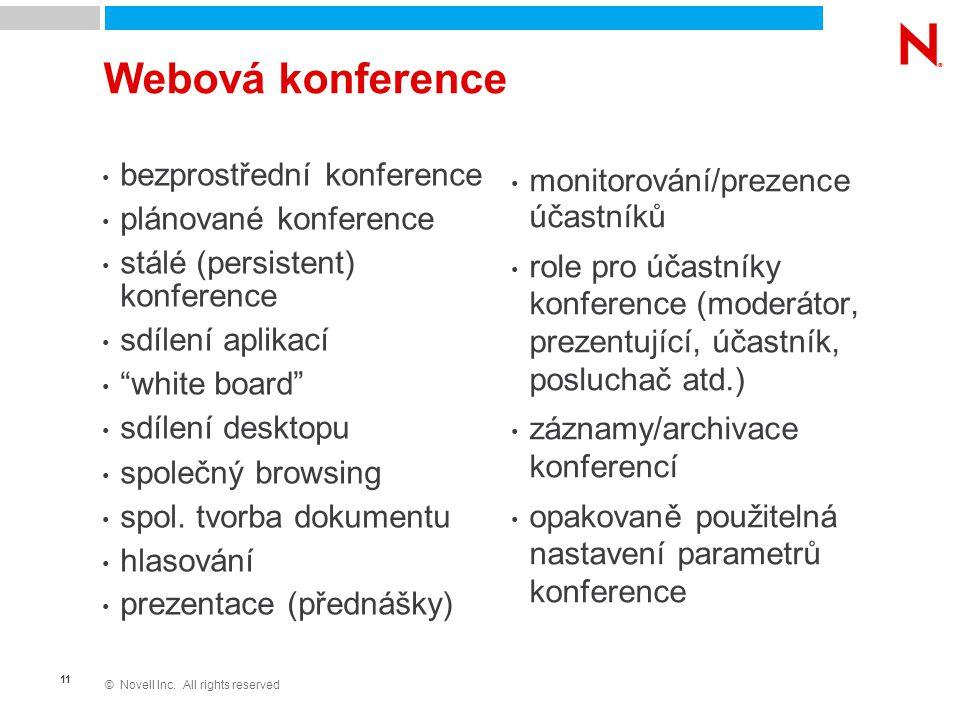 """© Novell Inc. All rights reserved 11 Webová konference bezprostřední konference plánované konference stálé (persistent) konference sdílení aplikací """"w"""