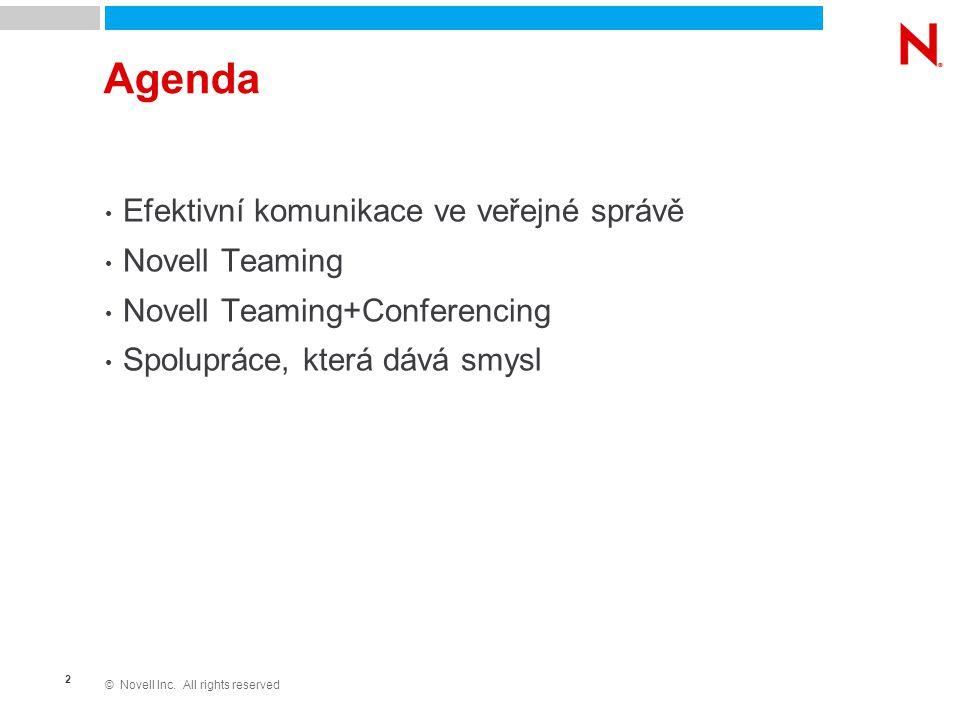 © Novell Inc. All rights reserved 2 Agenda Efektivní komunikace ve veřejné správě Novell Teaming Novell Teaming+Conferencing Spolupráce, která dává sm