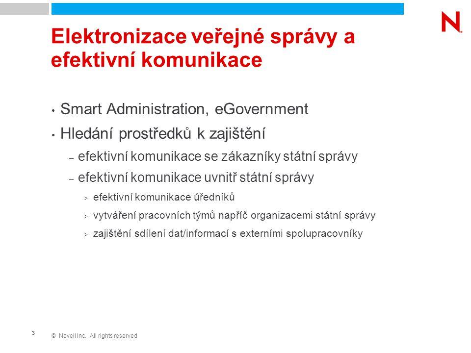 © Novell Inc. All rights reserved 3 Elektronizace veřejné správy a efektivní komunikace Smart Administration, eGovernment Hledání prostředků k zajiště
