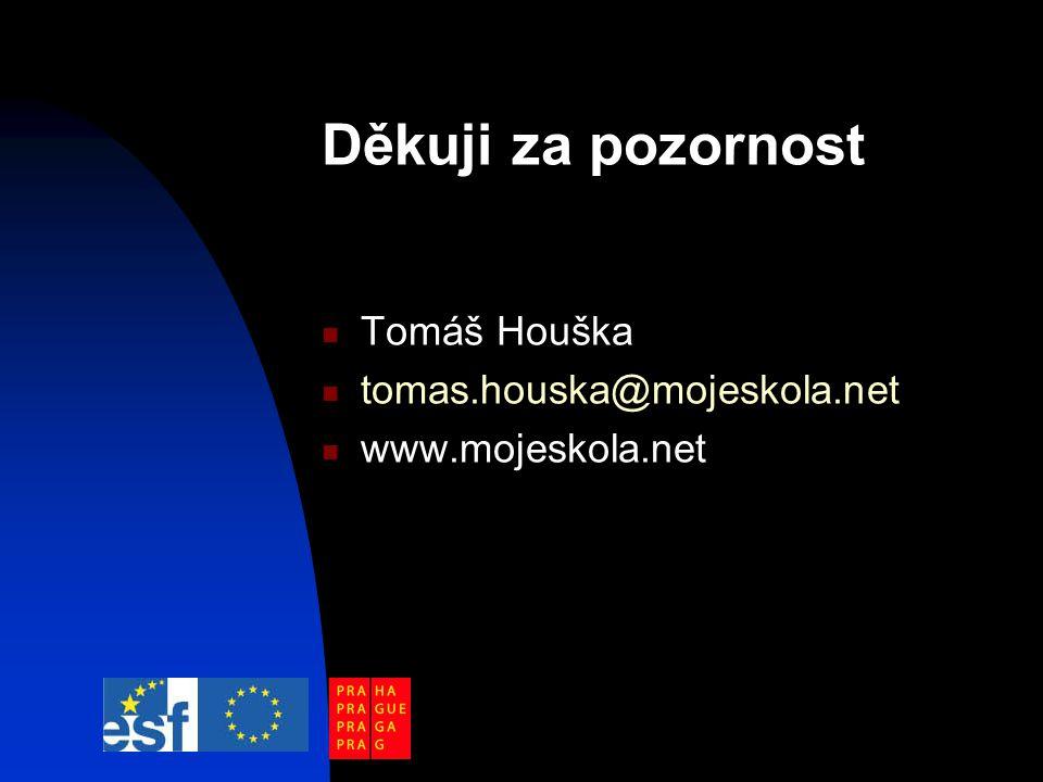 Děkuji za pozornost Tomáš Houška tomas.houska@mojeskola.net www.mojeskola.net
