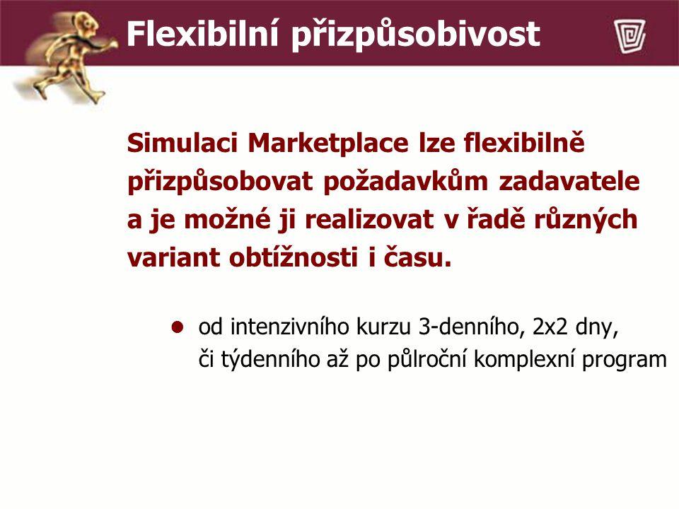 Flexibilní přizpůsobivost Simulaci Marketplace lze flexibilně přizpůsobovat požadavkům zadavatele a je možné ji realizovat v řadě různých variant obtížnosti i času.