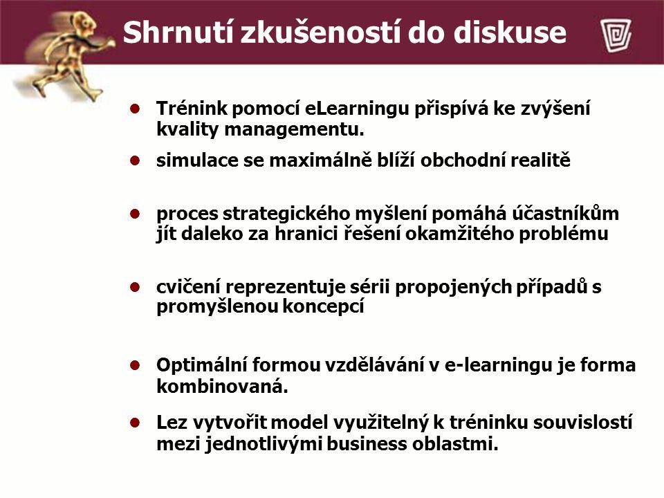 Shrnutí zkušeností do diskuse Trénink pomocí eLearningu přispívá ke zvýšení kvality managementu.