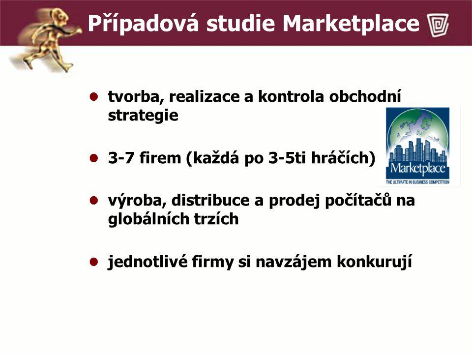 Případová studie Marketplace tvorba, realizace a kontrola obchodní strategie 3-7 firem (každá po 3-5ti hráčích) výroba, distribuce a prodej počítačů na globálních trzích jednotlivé firmy si navzájem konkurují