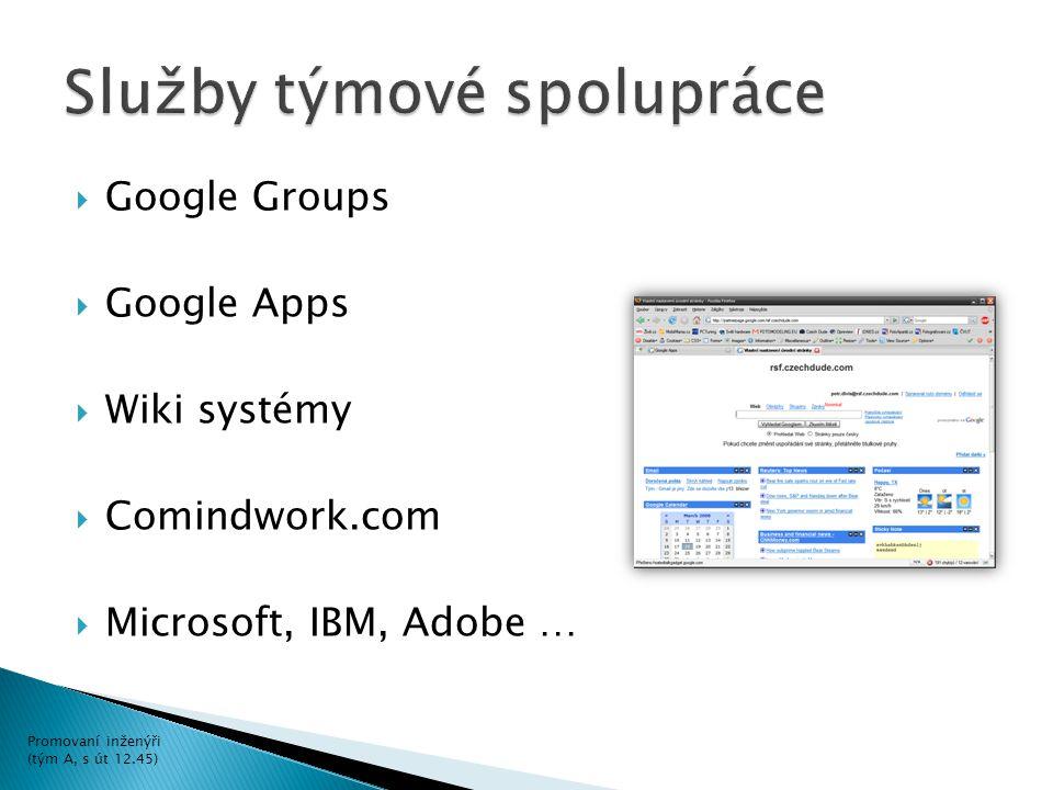  Google Groups  Google Apps  Wiki systémy  Comindwork.com  Microsoft, IBM, Adobe … Promovaní inženýři (tým A, s út 12.45)