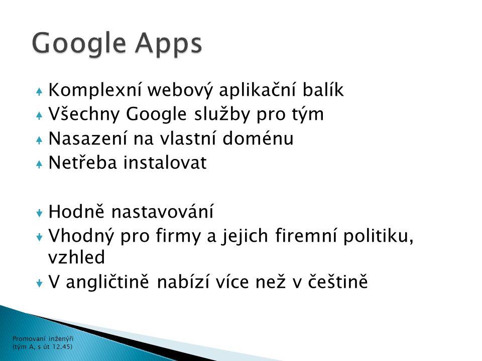 Komplexní webový aplikační balík Všechny Google služby pro tým Nasazení na vlastní doménu Netřeba instalovat  Hodně nastavování  Vhodný pro firmy a jejich firemní politiku, vzhled  V angličtině nabízí více než v češtině Promovaní inženýři (tým A, s út 12.45)