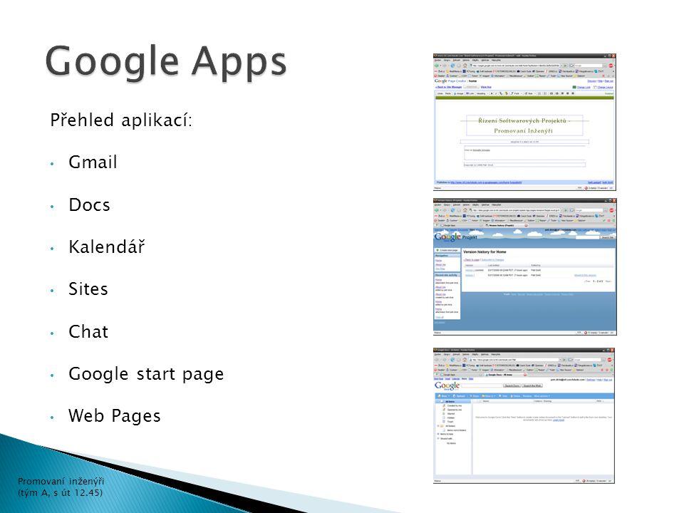 Přehled aplikací: Gmail Docs Kalendář Sites Chat Google start page Web Pages Promovaní inženýři (tým A, s út 12.45)