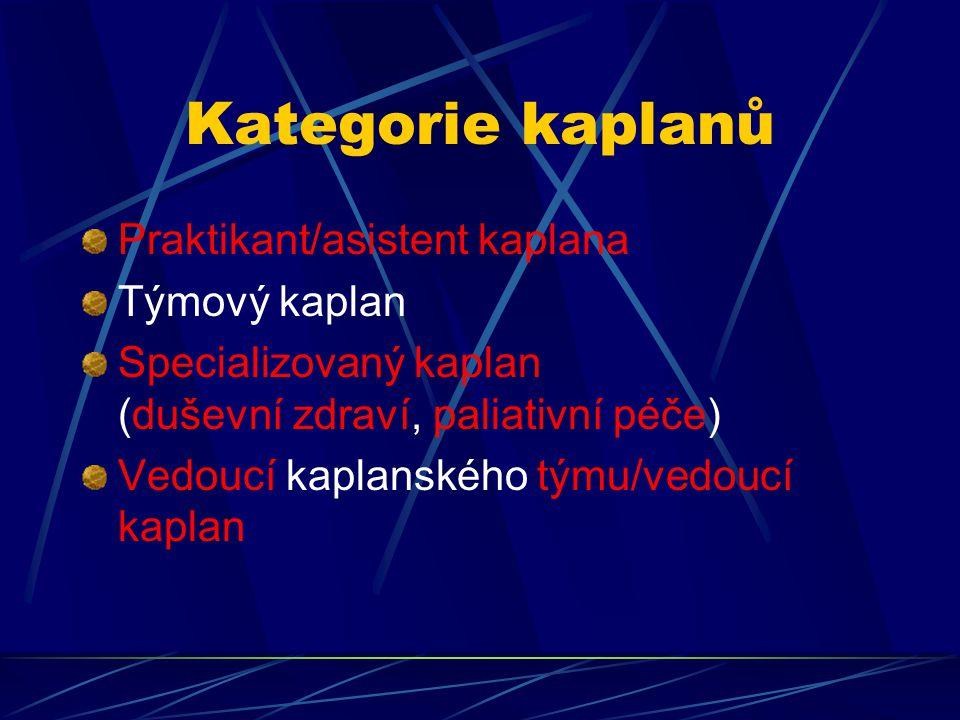 Kategorie kaplanů Praktikant/asistent kaplana Týmový kaplan Specializovaný kaplan (duševní zdraví, paliativní péče) Vedoucí kaplanského týmu/vedoucí k