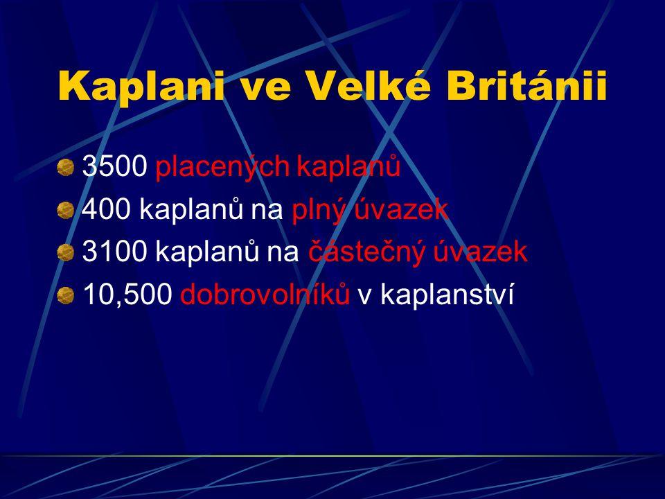 Kaplani ve Velké Británii 3500 placených kaplanů 400 kaplanů na plný úvazek 3100 kaplanů na částečný úvazek 10,500 dobrovolníků v kaplanství