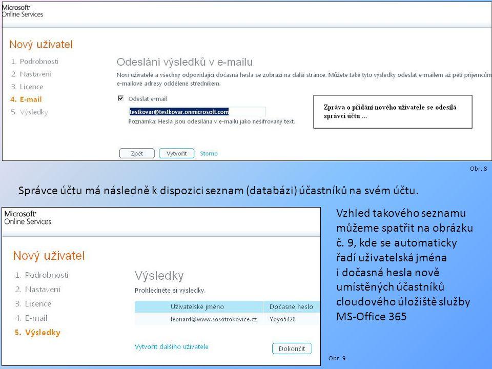 Správce účtu má následně k dispozici seznam (databázi) účastníků na svém účtu. Obr. 8 Vzhled takového seznamu můžeme spatřit na obrázku č. 9, kde se a