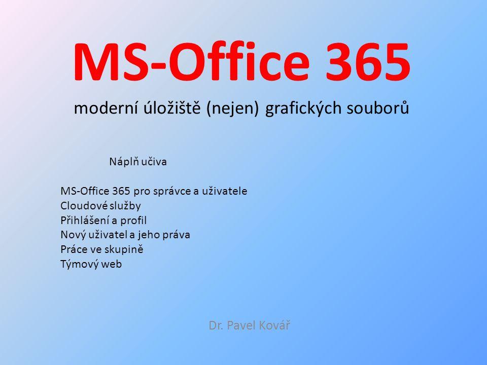 MS-Office 365 moderní úložiště (nejen) grafických souborů Dr. Pavel Kovář Náplň učiva MS-Office 365 pro správce a uživatele Cloudové služby Přihlášení