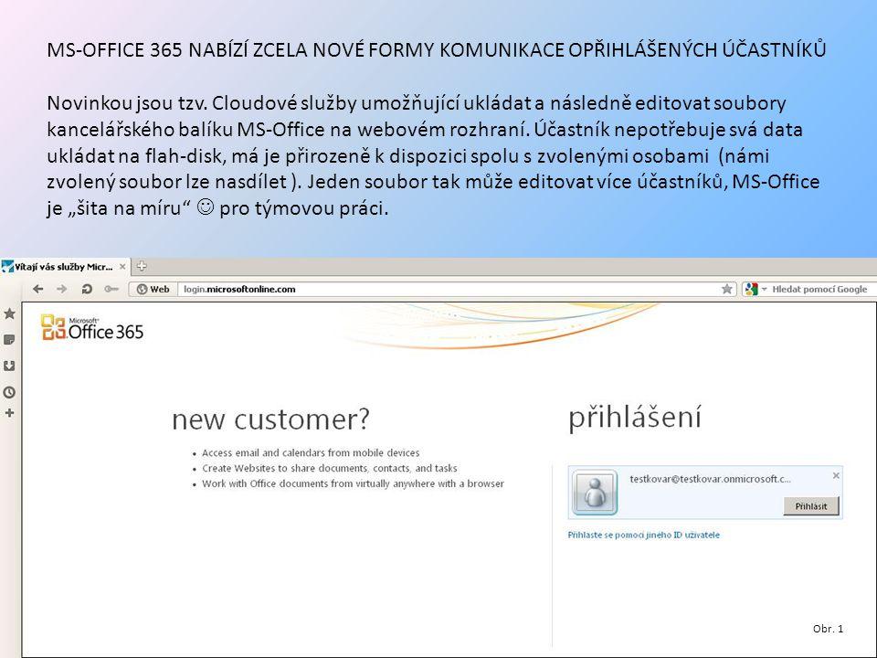 MS-OFFICE 365 NABÍZÍ ZCELA NOVÉ FORMY KOMUNIKACE OPŘIHLÁŠENÝCH ÚČASTNÍKŮ Novinkou jsou tzv. Cloudové služby umožňující ukládat a následně editovat sou