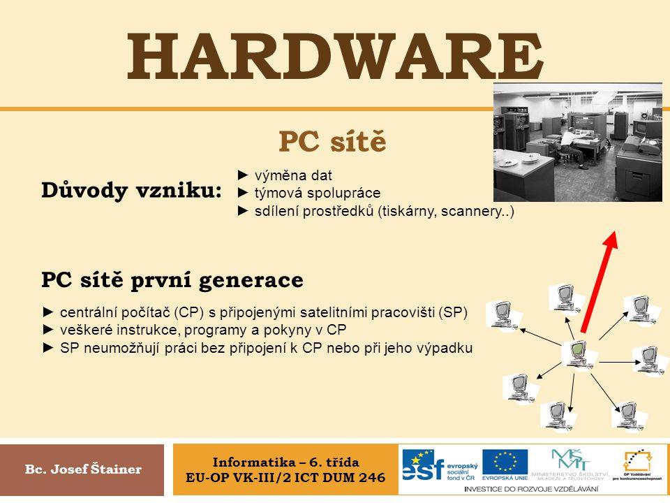 HARDWARE PC sítě Bc. Josef Štainer Důvody vzniku: ► výměna dat ► týmová spolupráce ► sdílení prostředků (tiskárny, scannery..) PC sítě první generace