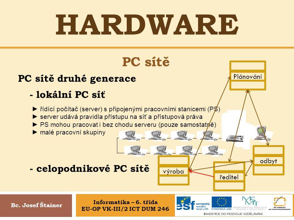 HARDWARE PC sítě Bc. Josef Štainer PC sítě druhé generace - lokální PC síť ► řídící počítač (server) s připojenými pracovními stanicemi (PS) ► server
