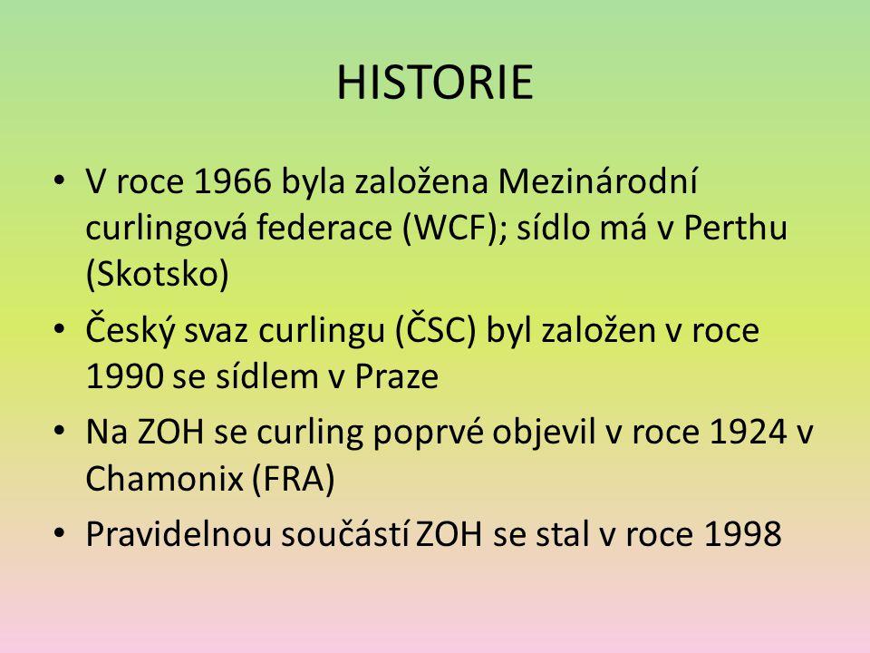 HISTORIE V roce 1966 byla založena Mezinárodní curlingová federace (WCF); sídlo má v Perthu (Skotsko) Český svaz curlingu (ČSC) byl založen v roce 1990 se sídlem v Praze Na ZOH se curling poprvé objevil v roce 1924 v Chamonix (FRA) Pravidelnou součástí ZOH se stal v roce 1998