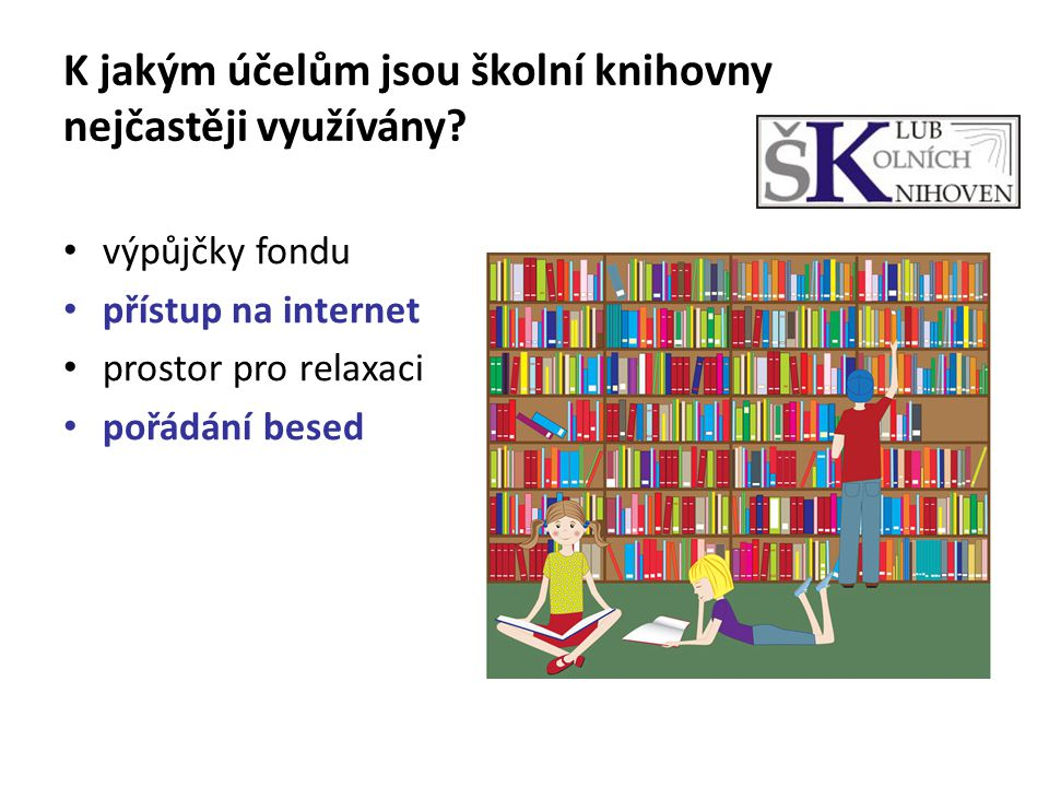 K jakým účelům jsou školní knihovny nejčastěji využívány? výpůjčky fondu přístup na internet prostor pro relaxaci pořádání besed