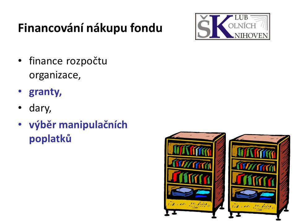 Financování nákupu fondu finance rozpočtu organizace, granty, dary, výběr manipulačních poplatků