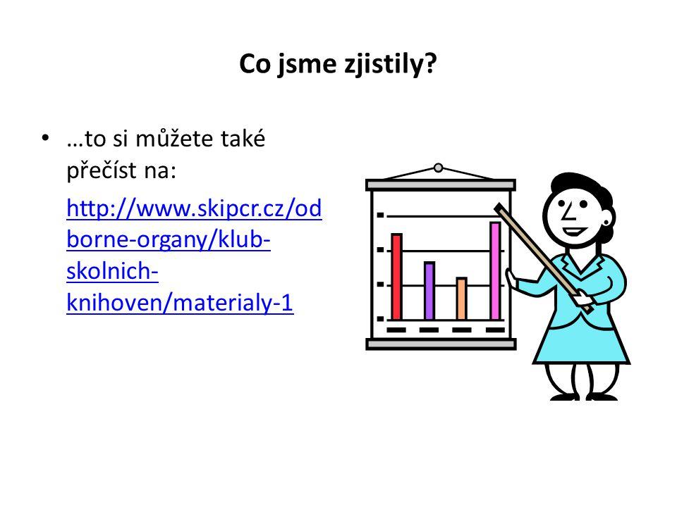 Co jsme zjistily? …to si můžete také přečíst na: http://www.skipcr.cz/od borne-organy/klub- skolnich- knihoven/materialy-1