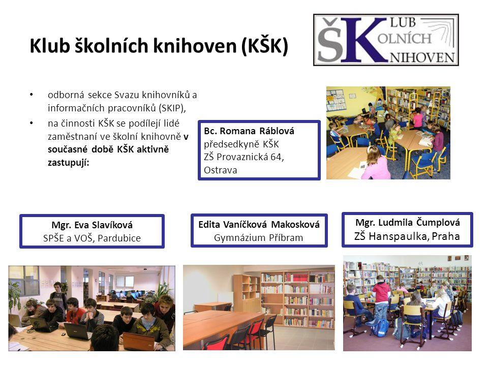 Klub školních knihoven (KŠK) odborná sekce Svazu knihovníků a informačních pracovníků (SKIP), na činnosti KŠK se podílejí lidé zaměstnaní ve školní knihovně v současné době KŠK aktivně zastupují: Bc.