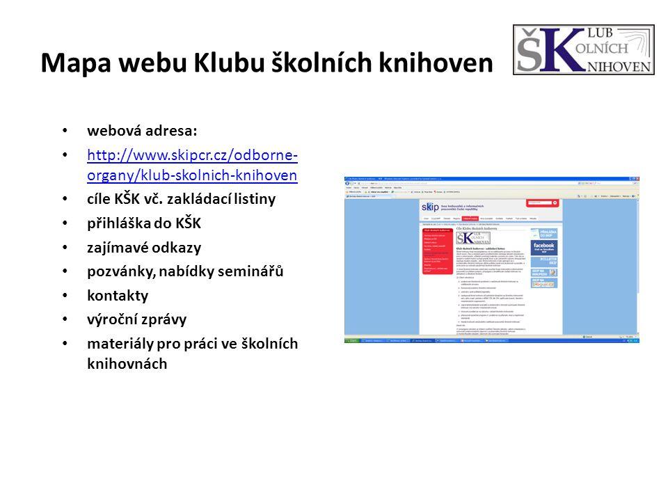 Mapa webu Klubu školních knihoven webová adresa: http://www.skipcr.cz/odborne- organy/klub-skolnich-knihoven http://www.skipcr.cz/odborne- organy/klub-skolnich-knihoven cíle KŠK vč.