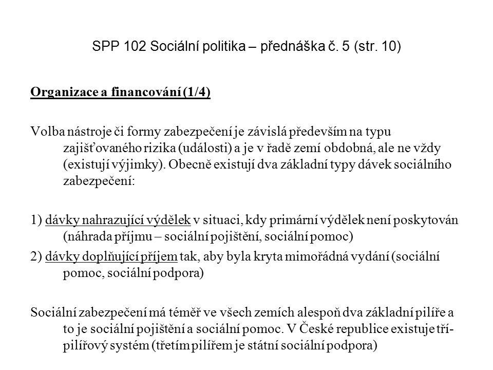 SPP 102 Sociální politika – přednáška č. 5 (str. 10) Organizace a financování (1/4) Volba nástroje či formy zabezpečení je závislá především na typu z