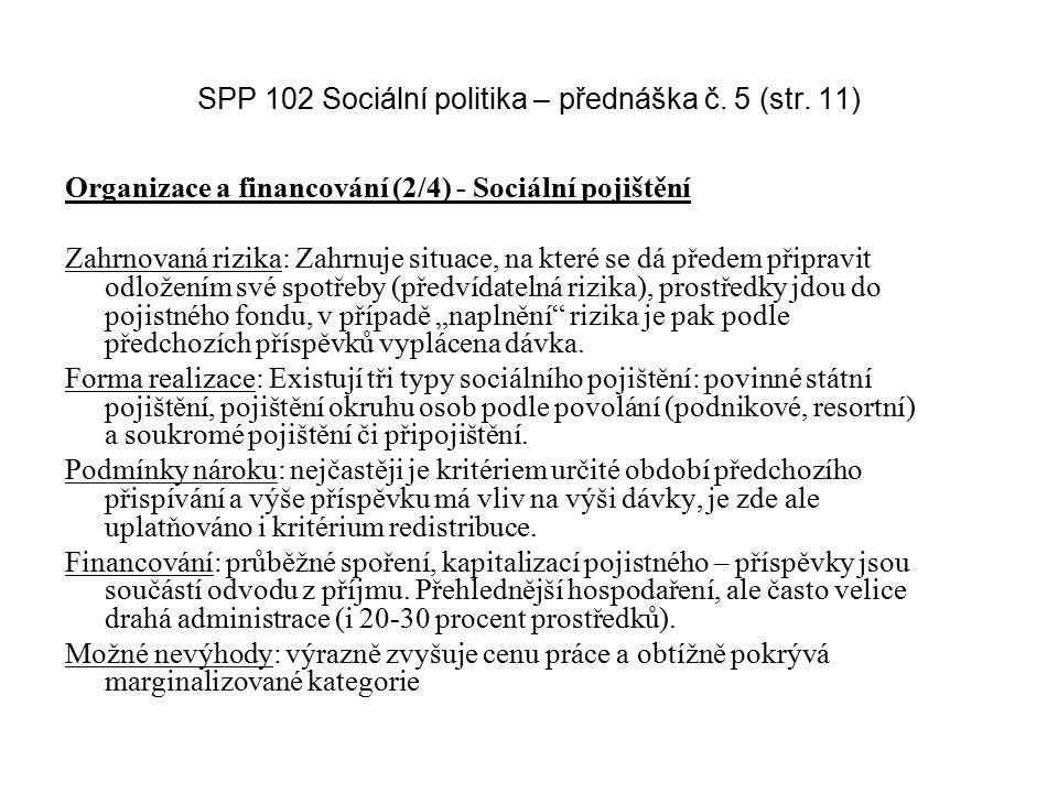 SPP 102 Sociální politika – přednáška č. 5 (str. 11) Organizace a financování (2/4) - Sociální pojištění Zahrnovaná rizika: Zahrnuje situace, na které